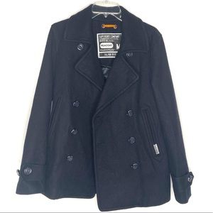 Superdry Commodity Edition navy blue wool pea coat